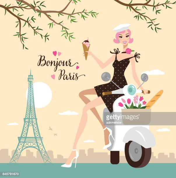 young woman in paris - nice france stock illustrations, clip art, cartoons, & icons