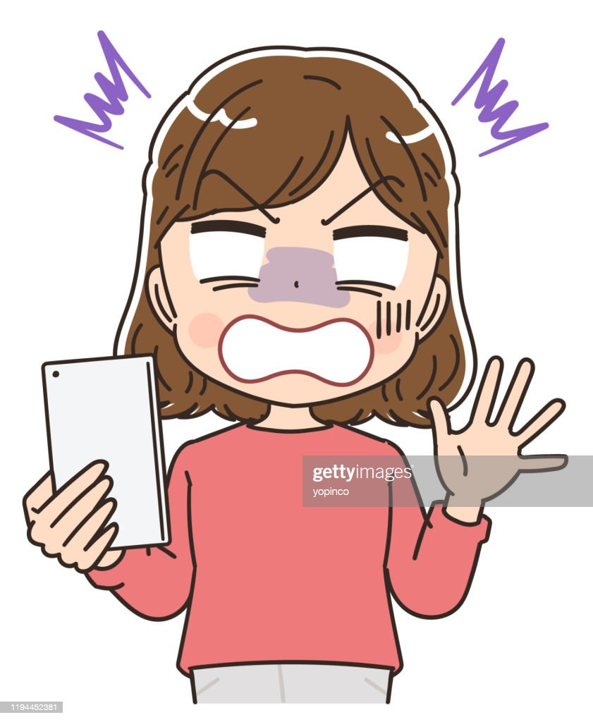 Young woman in red clothes.She uses a smartphone.She is shocked. : stock illustration