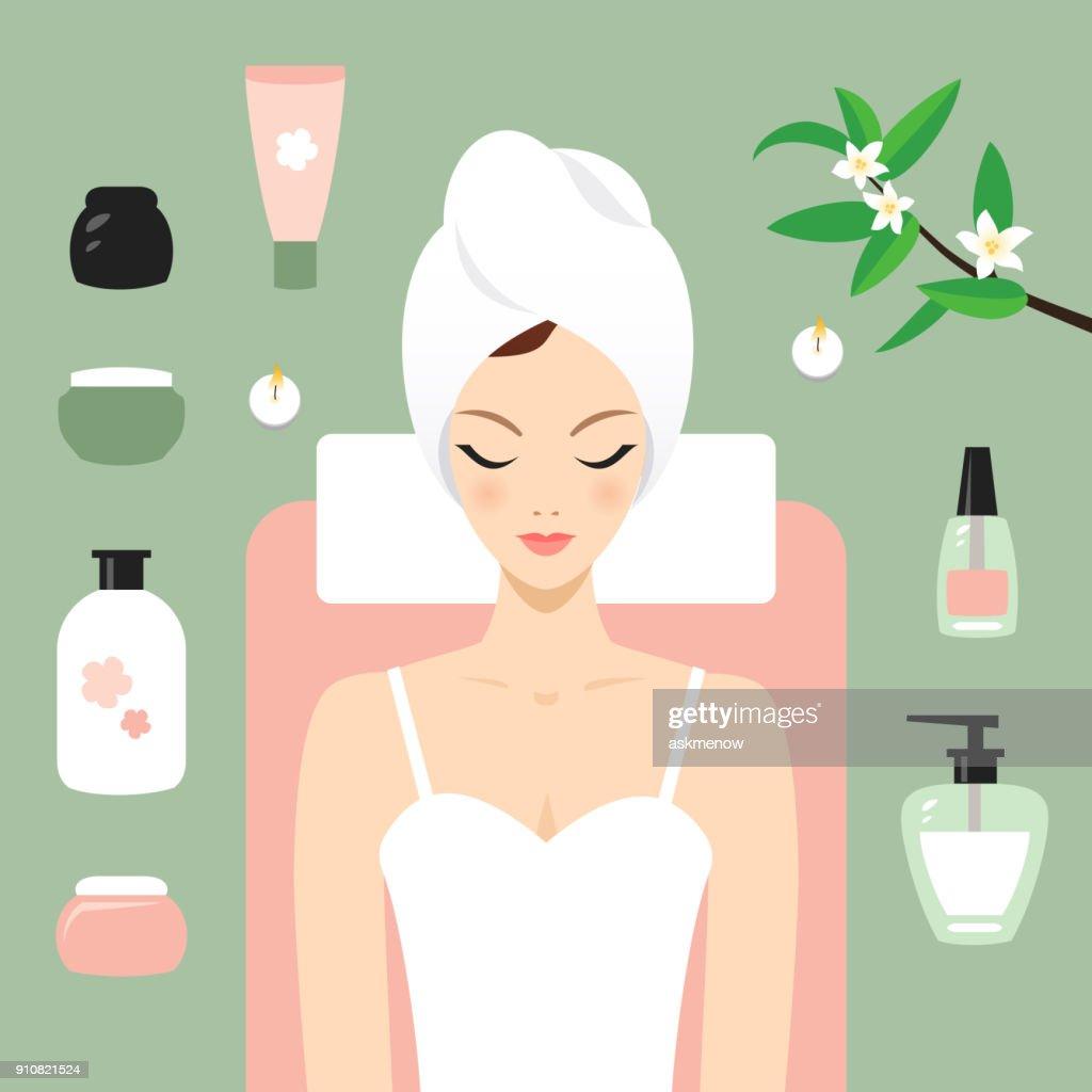 Mujer joven en el spa : Ilustración de stock