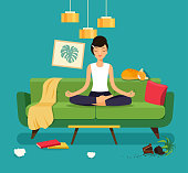 Young woman in yoga pose, lotus position. Messy living room interior.  Flat style vector illustration
