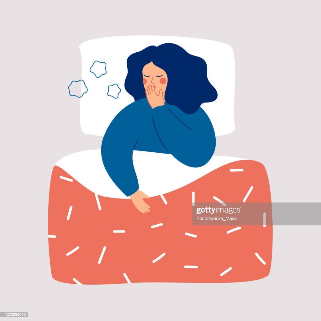 De jonge vrouw ligt in het bed en het hoesten. : Stockillustraties