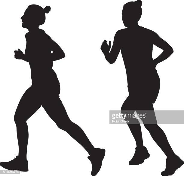 young woman jogging silhouettes - women's track stock illustrations, clip art, cartoons, & icons
