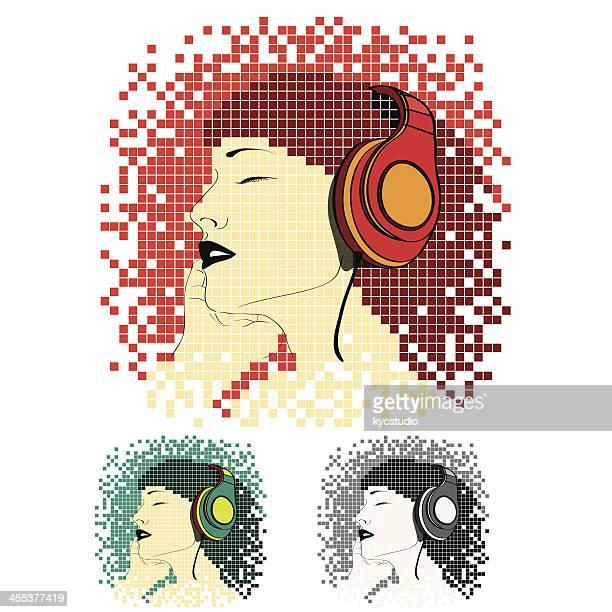 ilustraciones, imágenes clip art, dibujos animados e iconos de stock de joven mujer escuchando música - mujer escuchando musica