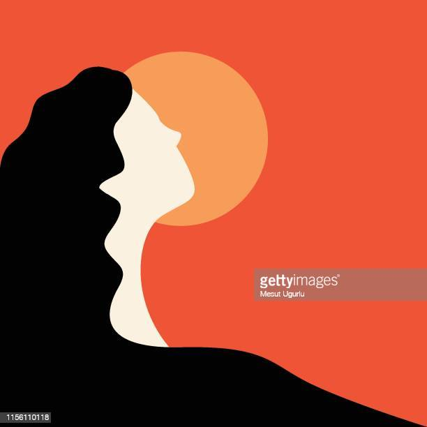 young woman looks at the sunset - young women stock illustrations