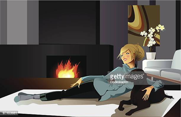 Young Woman Lying on Floor Near Fireplace with Dog