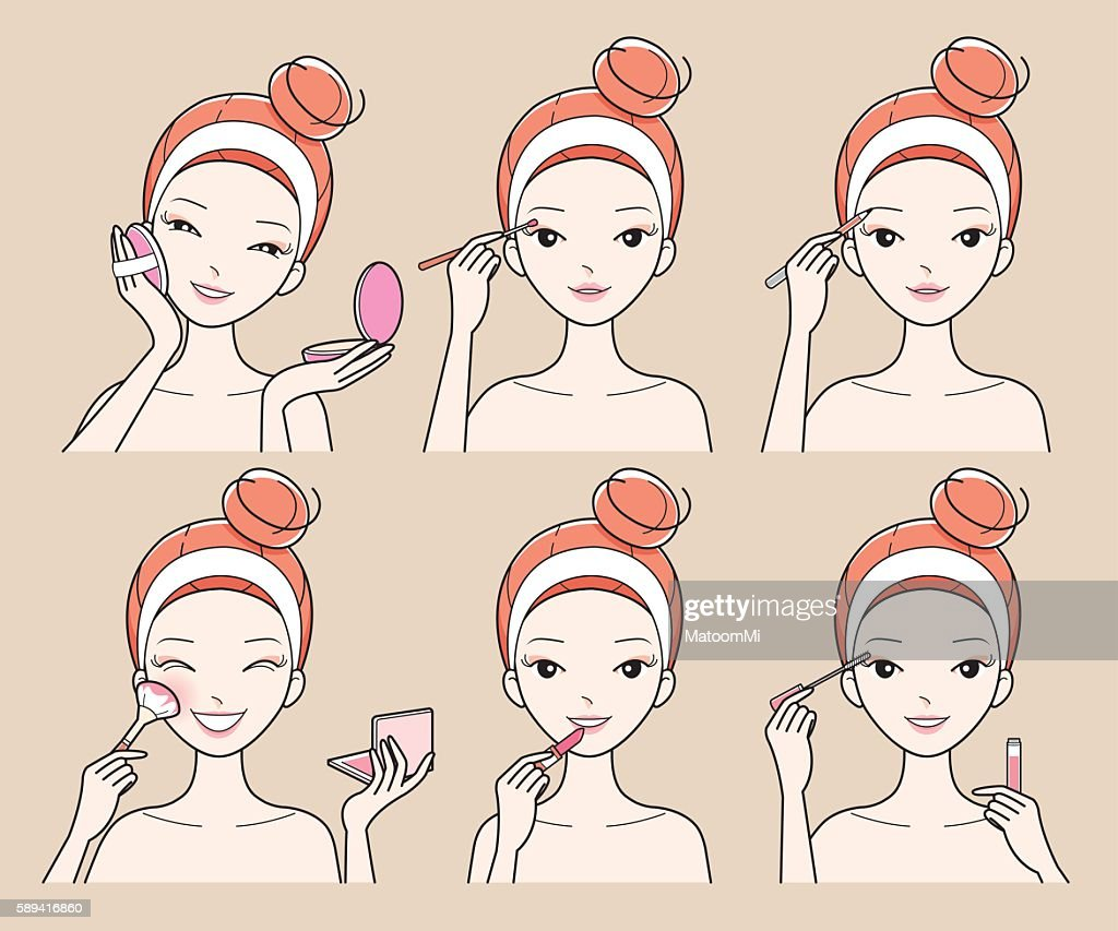 Young Woman Makes Up With Various Actions Set