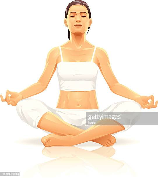 young woman meditating - abdominal muscle stock illustrations, clip art, cartoons, & icons