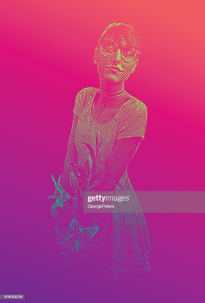 Young woman nerd holding bouquet and hoping for romance : stock illustration