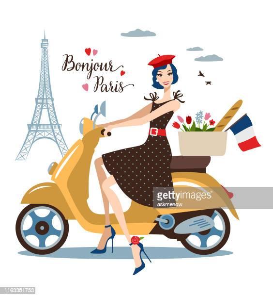 illustrations, cliparts, dessins animés et icônes de jeune femme sur un vélo à paris - femme bcbg