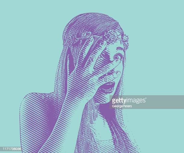 young woman peeking through fingers with shocked expression - me too social movement stock illustrations, clip art, cartoons, & icons