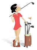 Young woman plays golf isolated illustration