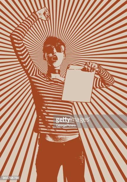 ilustraciones, imágenes clip art, dibujos animados e iconos de stock de joven mujer protestando y con cartel con fondo de tono medio - igualdad de genero