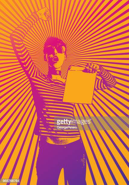 young woman protesting and holding sign with half tone pattern background - protest stock illustrations, clip art, cartoons, & icons
