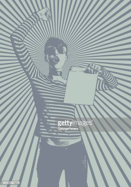 young woman protesting and holding sign with half tone pattern background - desaturated stock illustrations, clip art, cartoons, & icons