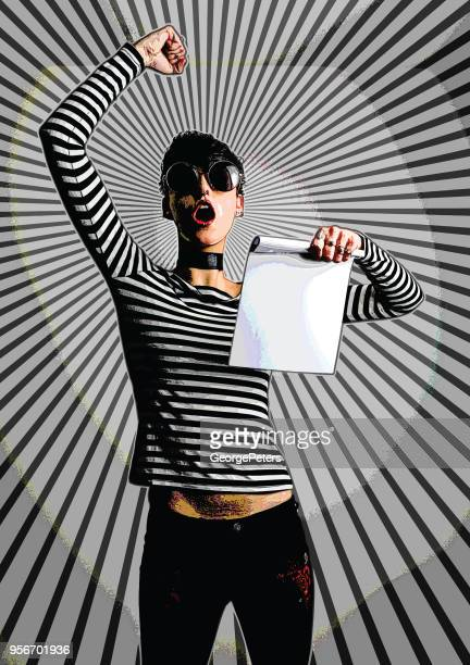 Young woman protesting and holding sign with half tone pattern background