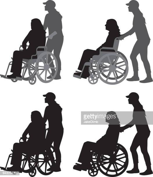 young woman pushing old woman in wheelchair silhouettes - wheelchair stock illustrations, clip art, cartoons, & icons