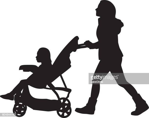 young woman pushing stroller silhouette - three wheeled pushchair stock illustrations, clip art, cartoons, & icons