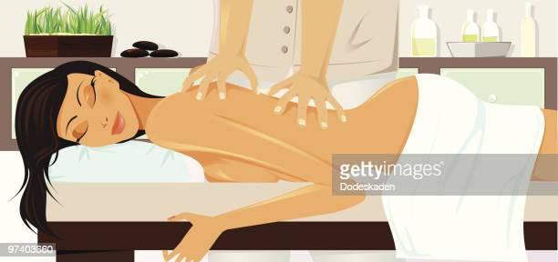 Jeune femme à recevoir un Massage au Spa