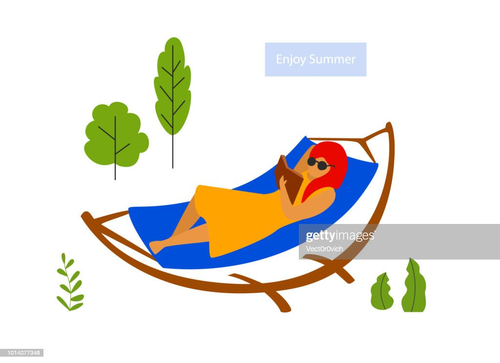 young woman relaxing in hammock reading a book scene