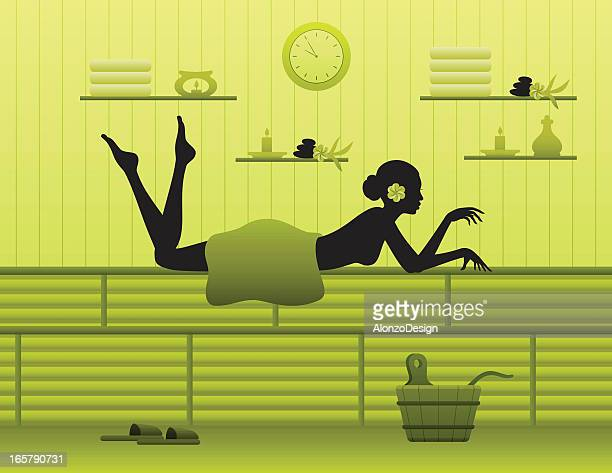 young woman relaxing in sauna - health spa stock illustrations, clip art, cartoons, & icons