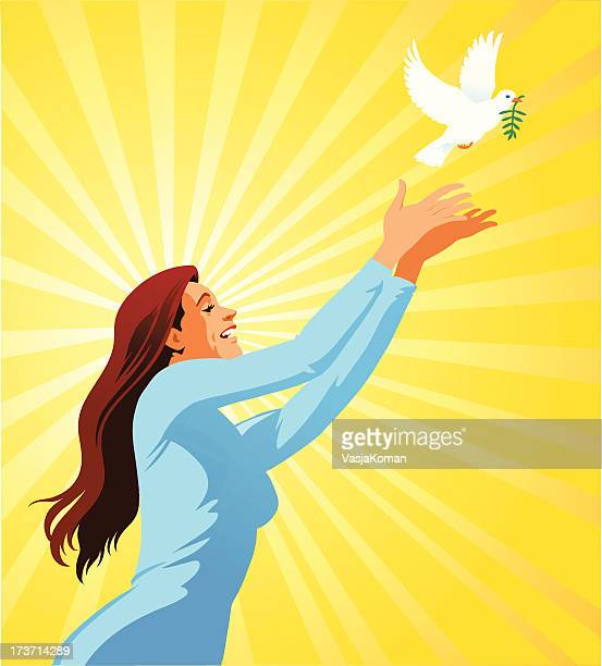 Young Woman Releasing a White Dove