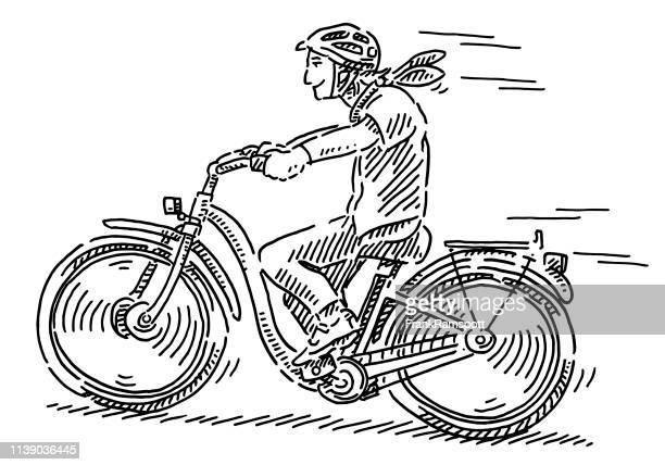 ilustrações, clipart, desenhos animados e ícones de desenho da bicicleta da equitação da mulher nova - clip art