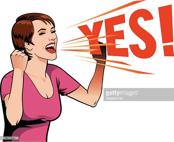 young woman screaming out yes - ecstatic stock illustrations