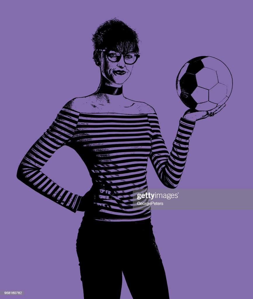 Young woman soccer fan holding soccer ball : stock illustration