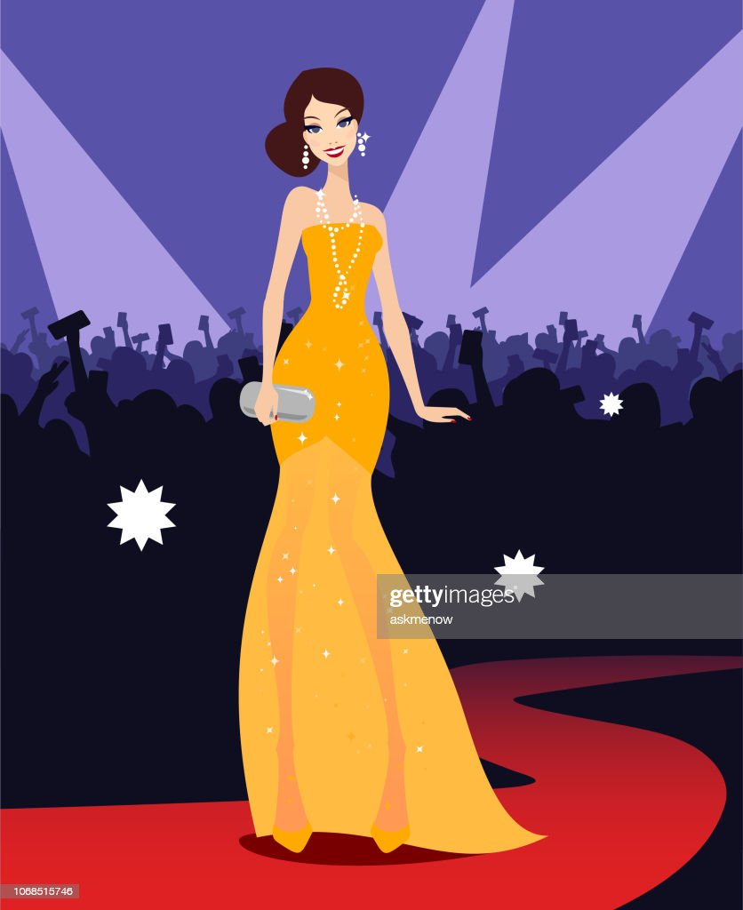 Young woman star on a red carpet