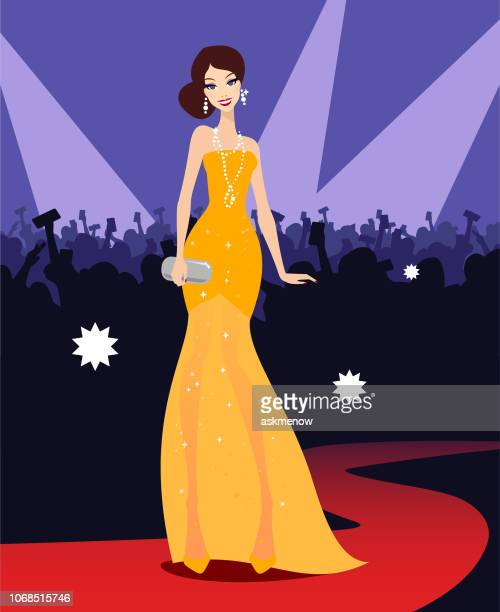 illustrazioni stock, clip art, cartoni animati e icone di tendenza di young woman star on a red carpet - premiere event