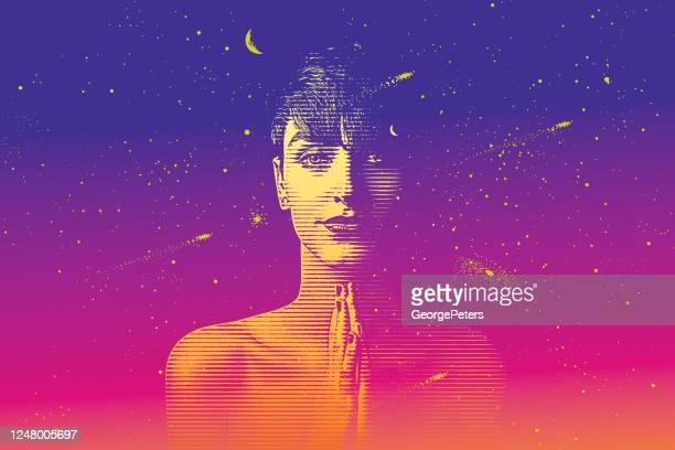 young woman surrounded by the universe - milky way stock illustrations