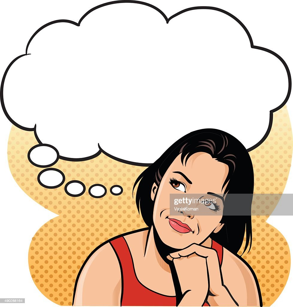 Young Woman Thinking With Speech Balloon - Daydreaming : stock illustration