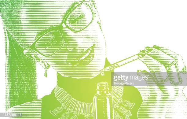 cbdオイルボトルとピペットを使用する若い女性 - 付ける点のイラスト素材/クリップアート素材/マンガ素材/アイコン素材