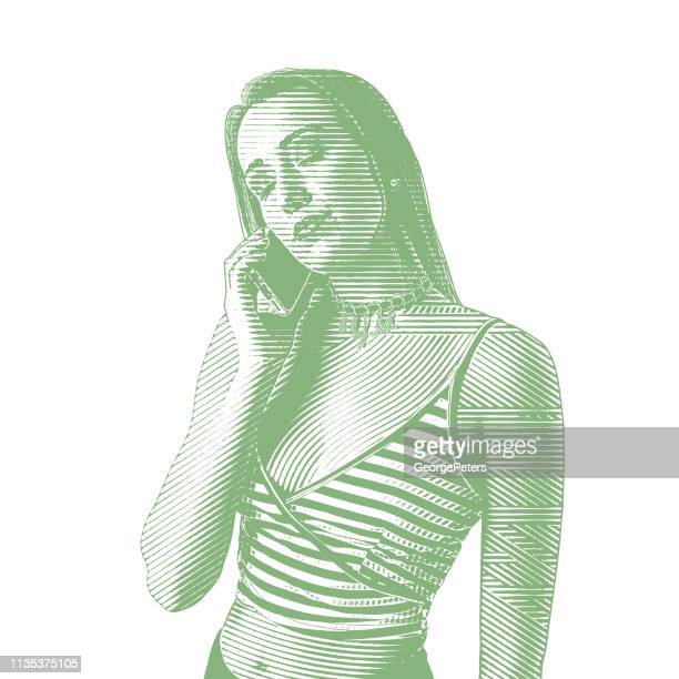 young woman using phone - desaturated stock illustrations, clip art, cartoons, & icons