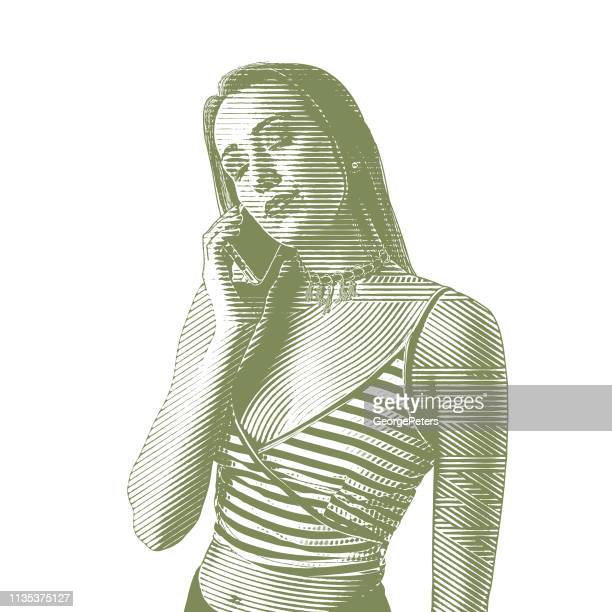 ilustrações de stock, clip art, desenhos animados e ícones de young woman using phone - cabelo liso