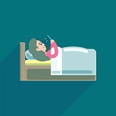 Young Woman using texting on smartphone in bed, Vector icon illustration.