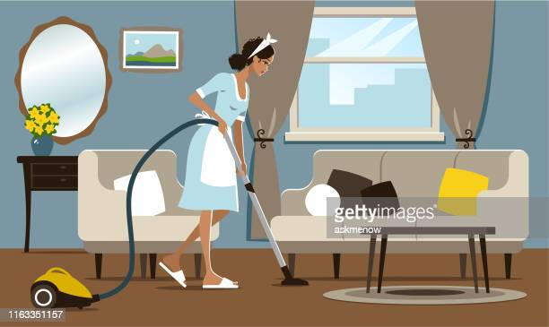 young woman vacuuming - housework stock illustrations