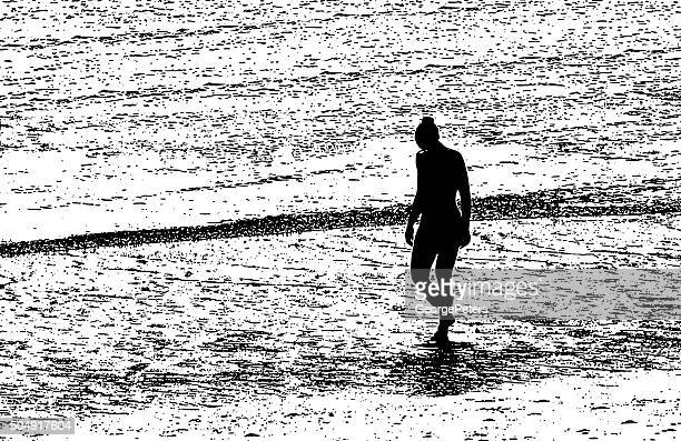 young woman walking at the beach during sunset - bocas del toro stock illustrations, clip art, cartoons, & icons