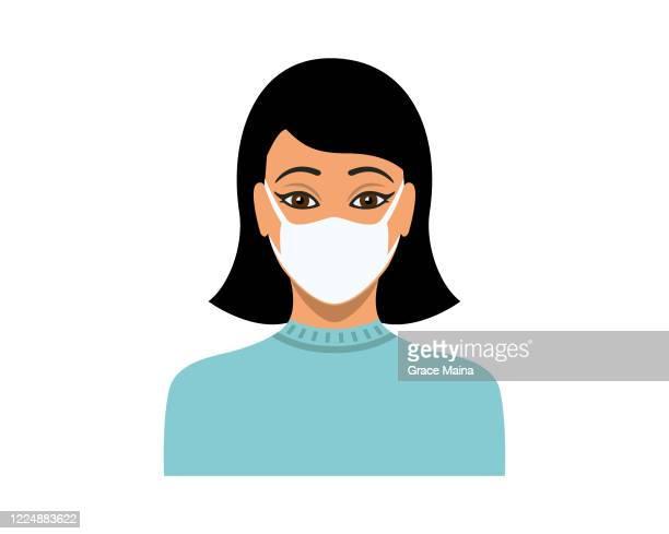 junge frau trägt schützende medizinische gesichtsmaske vektor - ausdruckslos stock-grafiken, -clipart, -cartoons und -symbole