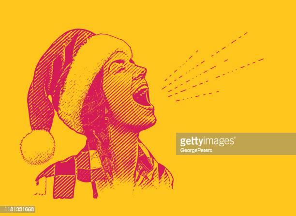illustrazioni stock, clip art, cartoni animati e icone di tendenza di giovane donna che indossa il cappello di babbo natale che canta - mamma natale