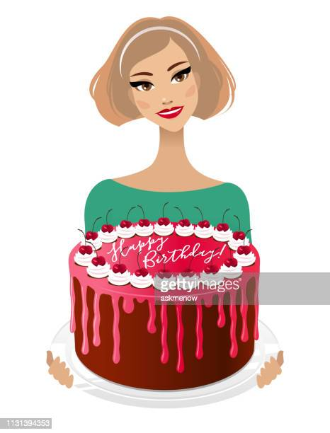 young woman with a birthday cake - glazed food stock illustrations, clip art, cartoons, & icons