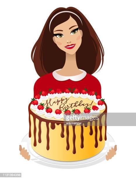 ilustrações, clipart, desenhos animados e ícones de mulher nova com um bolo de aniversário - glazed food