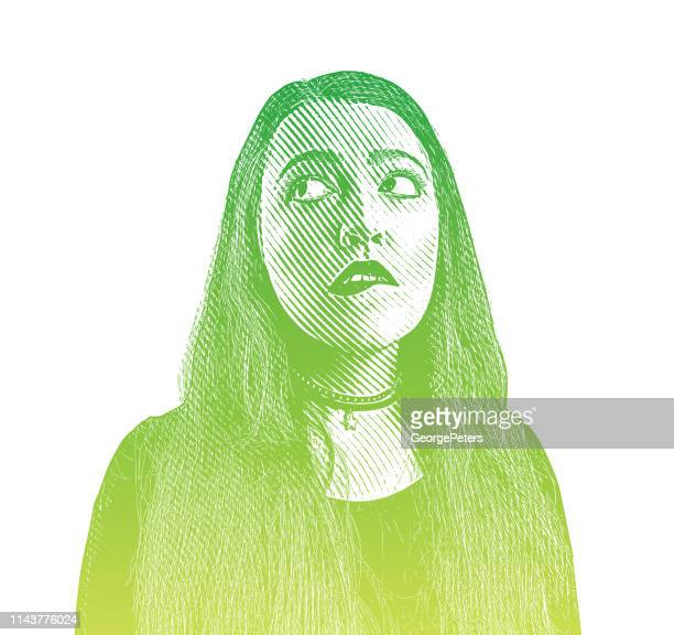 young woman with confused facial expression - only young women stock illustrations