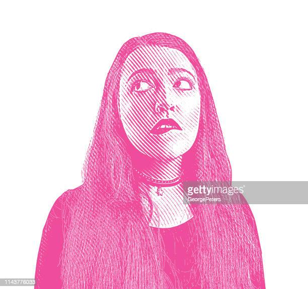 Young woman with confused facial expression