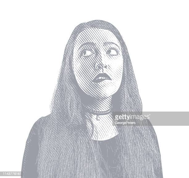 young woman with confused facial expression - body conscious stock illustrations, clip art, cartoons, & icons