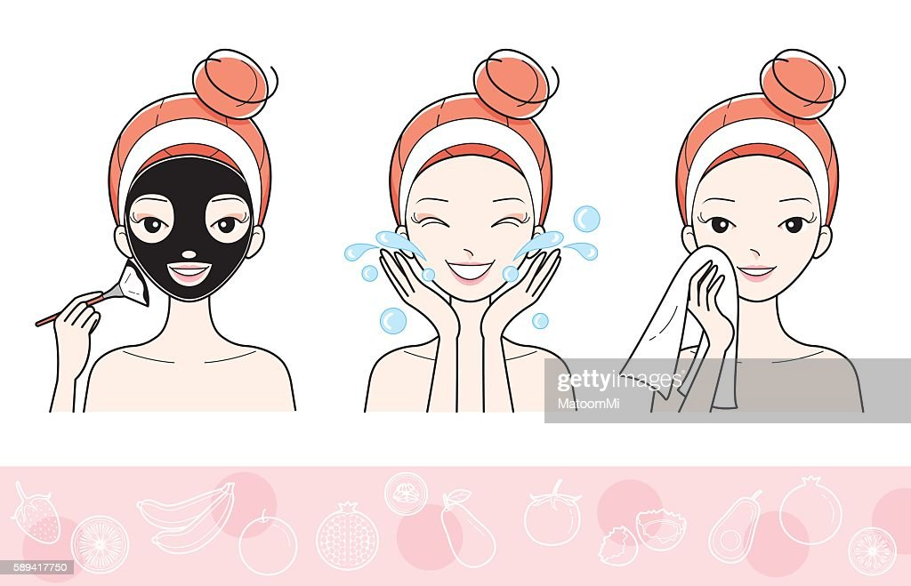 Young Woman With Facial Mask Step