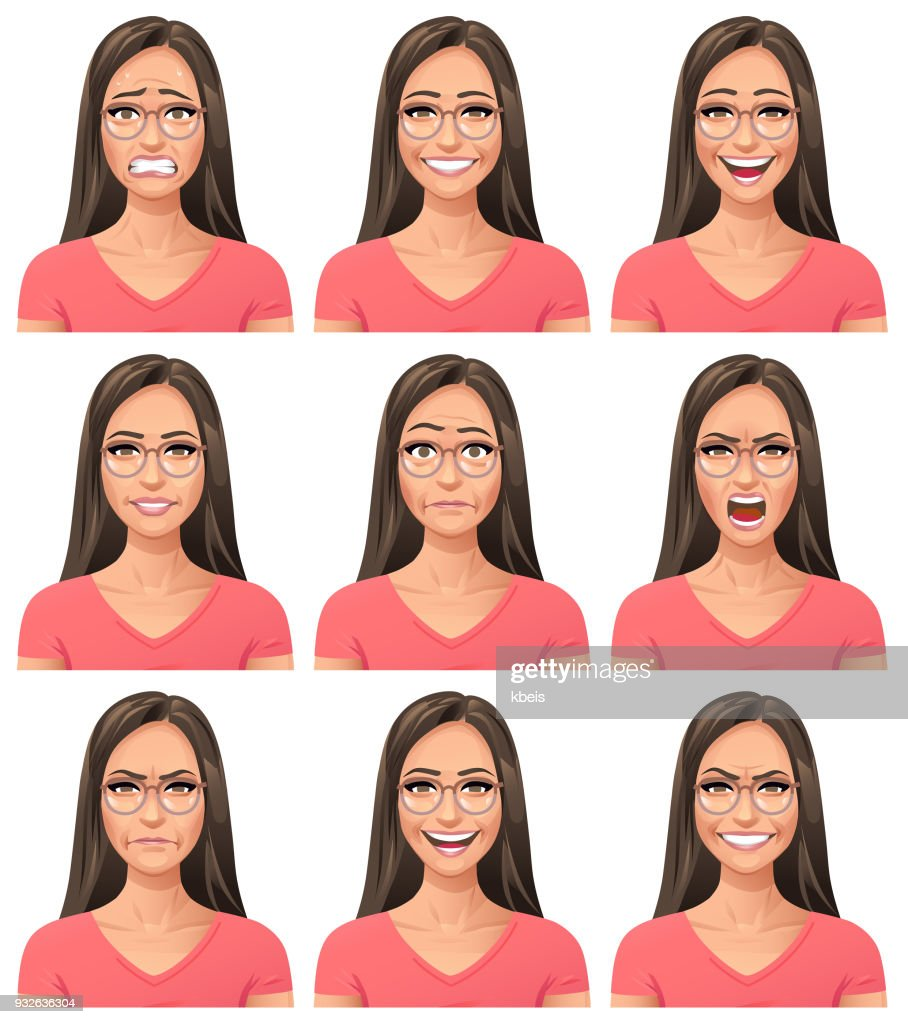 Young Woman With Glasses- Facial Expressions