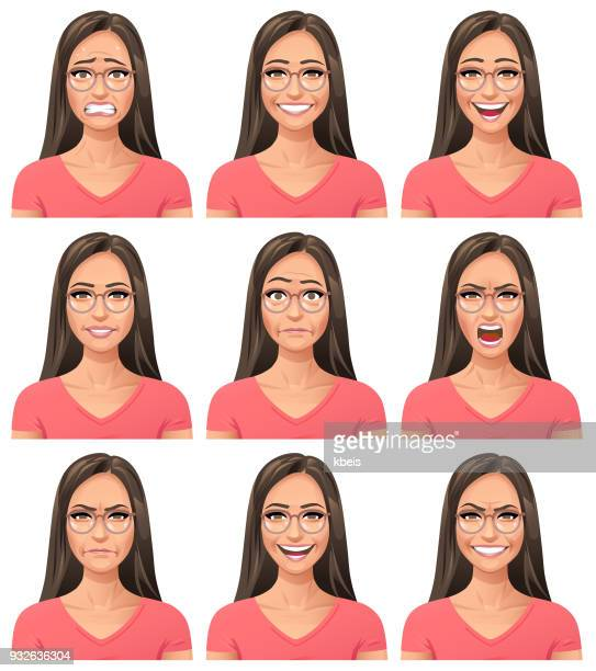 young woman with glasses- facial expressions - young women stock illustrations