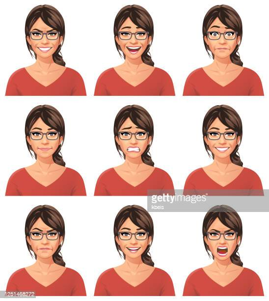 young woman with glasses portrait- emotions - part of a series stock illustrations