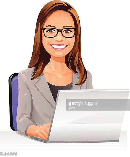 Young Woman With Glasses Using A Laptop